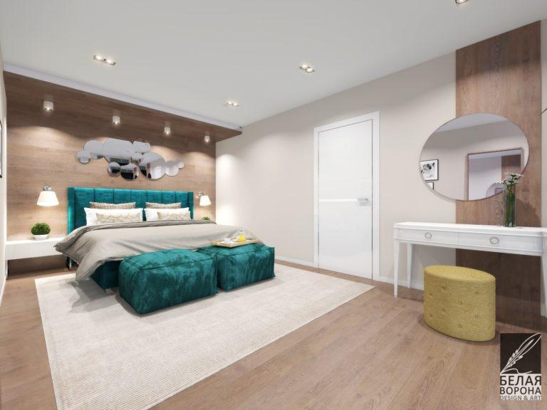 Дизайн-проект спальни в современном интерьере с ярким цветовым акцентом