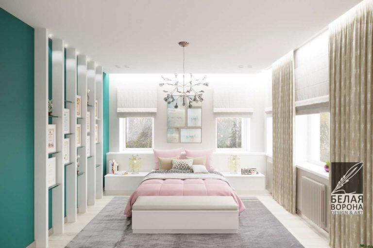 Интерьер спальни в стиле авангард в светлых тонах