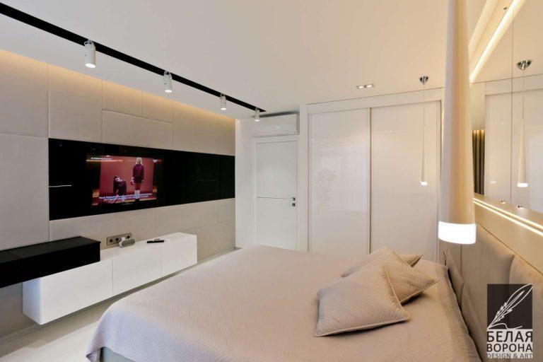 дизайн проект спальни в применением нейтральной гаммы