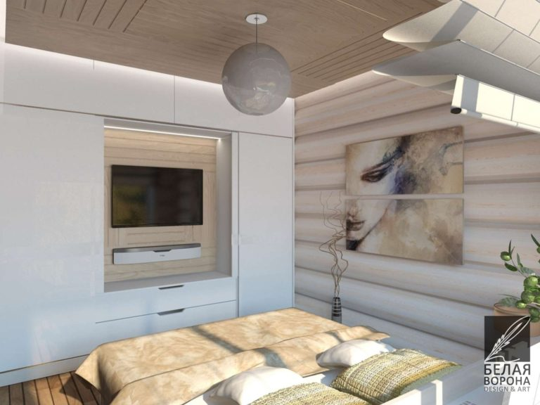 дизайн интерьера спальни в светлых тонах с картиной в качестве декоративного элемента