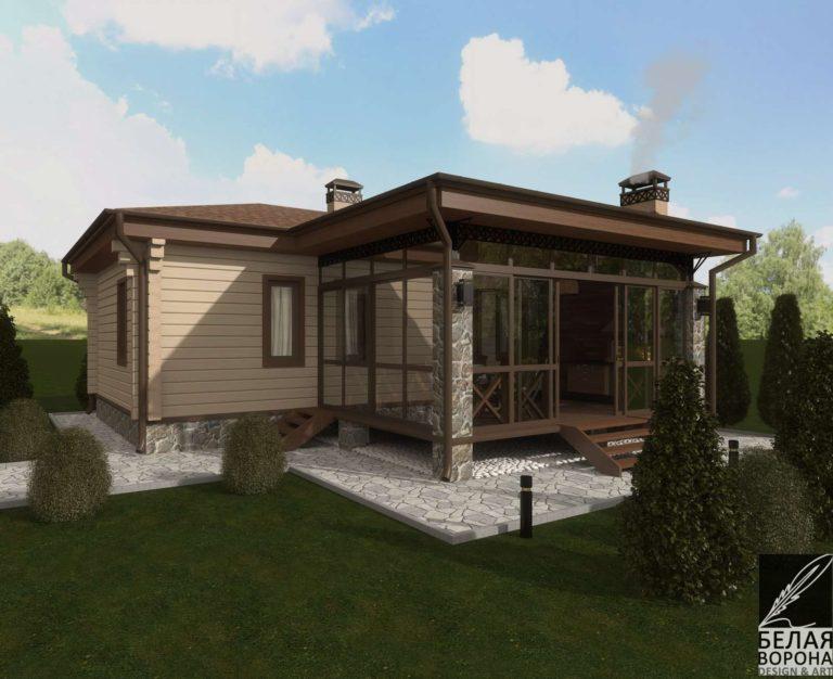 дизайн экстерьера дома в светлых тонах в дневном свете