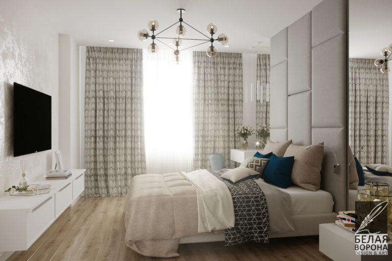 Спальня в нейтральной цветовой гамме. Дизайнерский проект спальни