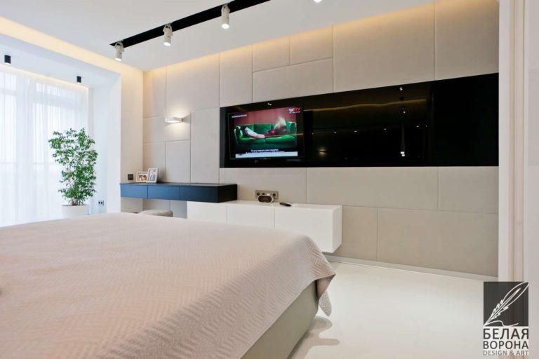 дизайн проект просторной спальни в стиле хай-тек в применением резкого контраста и современных технологий в иинтерьере