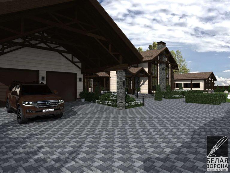 дизайн проект фасада экстерьера дачного дома дневное освещение