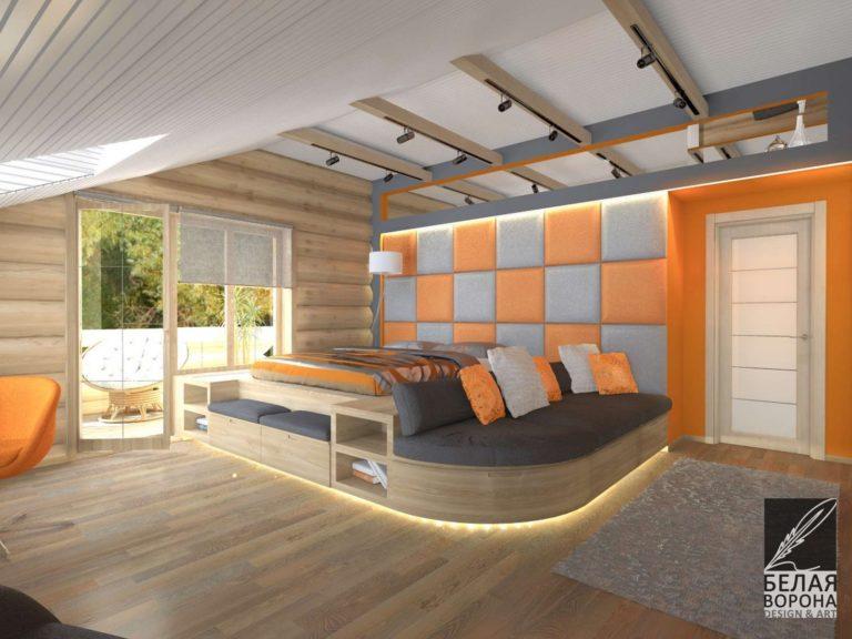 Спальня выполненная по дизайнерскому проекту сочетающему в себе нейтральные и яркие тона