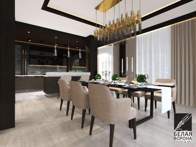 Столовая в светлых тонах. Дизайн-проект кухни совмещённой со столовой