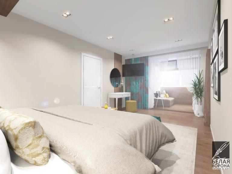 дизайн проект спальни в современном стиле с яркими акцентами и светлыми тонами