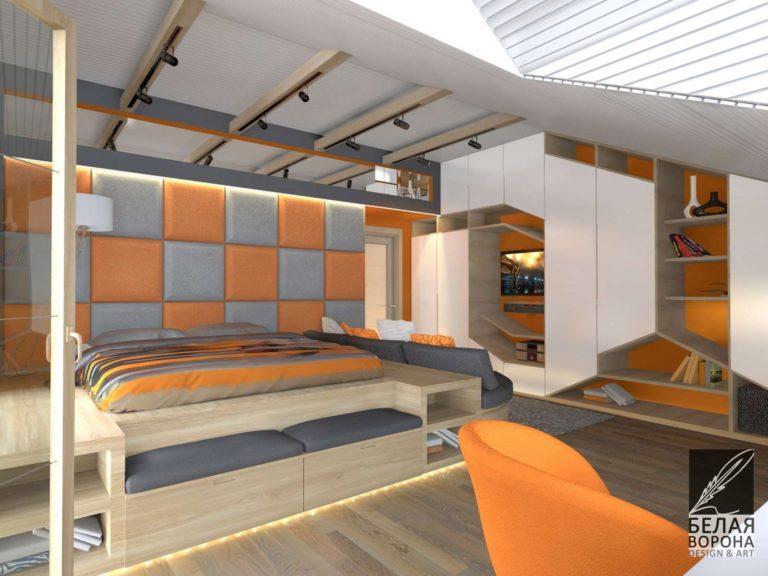 Проект спальни выполненной в светлых тонах в сочетании с яркими деталями интерьера