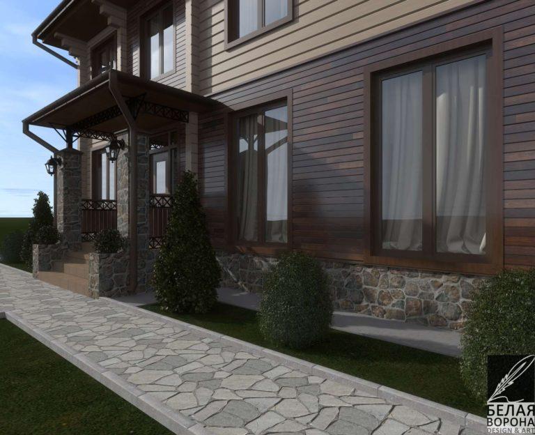 дизайн экстерьера дома из бруса в светлых тонах