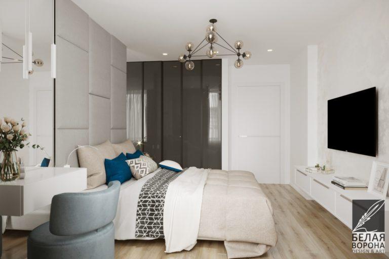 дизайн проект спальни в с применением цветовых акцентов и монохромной гаммы