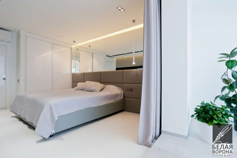 дизайн проект спальни в контраста тёплых и холодных тонов