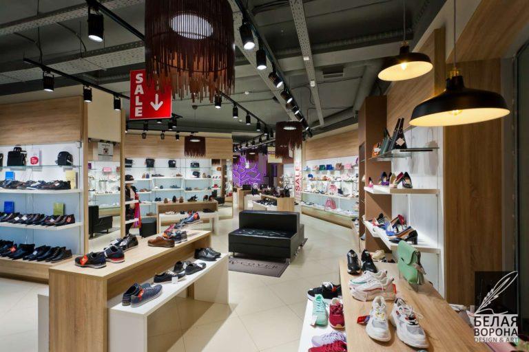 зал магазина обуви в современном коммерческом интерьере