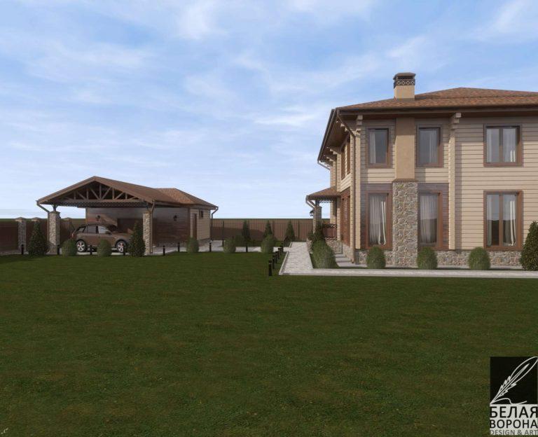 дизайн экстерьера дома из клееного бруса в дневном освещении