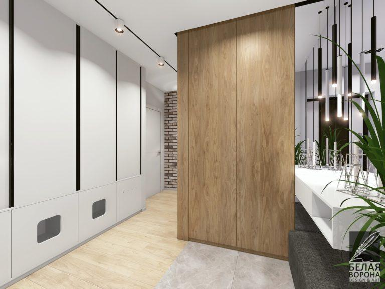 дизайн проект холла в современном интерьере в сочетании цветов нейтральной гаммы