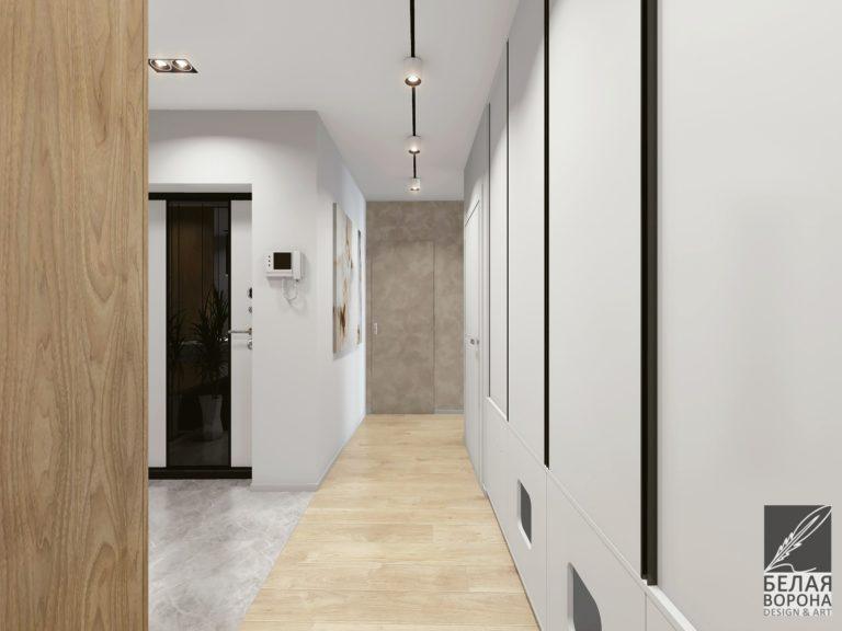 Дизайнерский проект коридора в светлых тонах двухкомнатной квартире