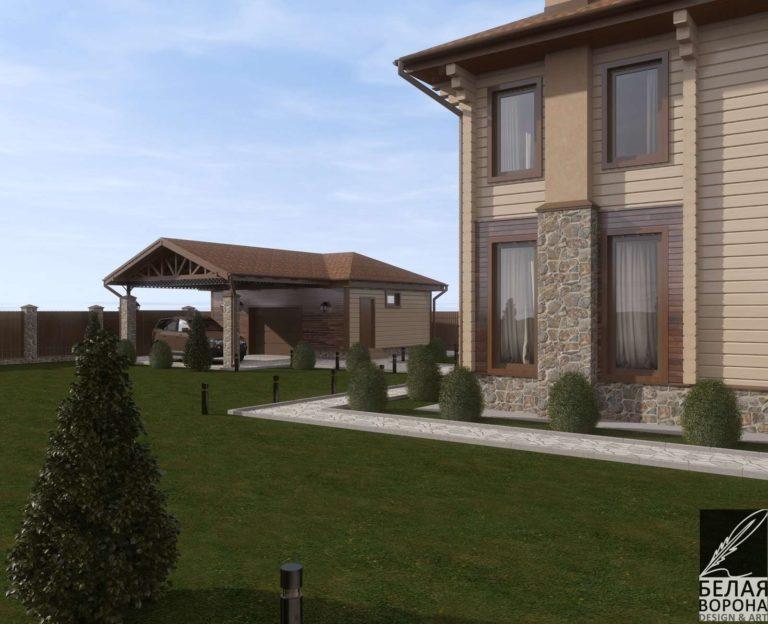 дизайн проект загородного дома в современном экстерьере