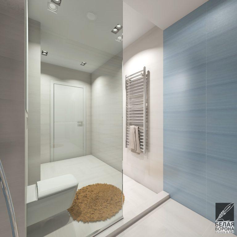 Дизайн ванной комнаты с мягким но контрастным сочетанием цветов