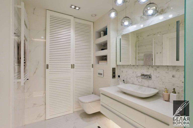 дизайн проект ванной совмещённой с санузлом в современном интерьере