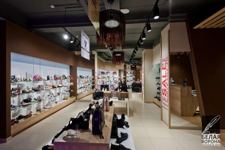 дизайн интерьер коммерческого помещения в современном стиле в применением резкого контраста
