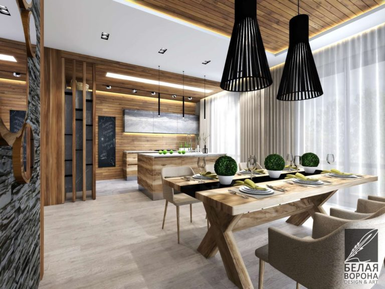 Столовая совмещённая с кухней. Сочетание фактур в иньерьере
