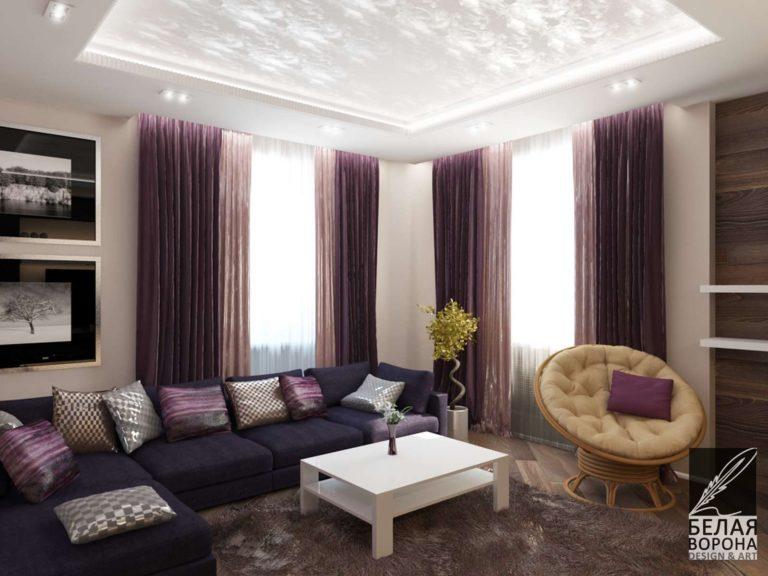 дизайн-проект интерьера гостиной в с применением цветовых акцентов