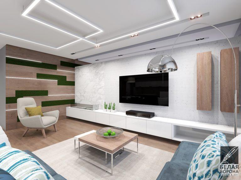 Интерьер гостинной в современном интерьере с применением элементов экостиля