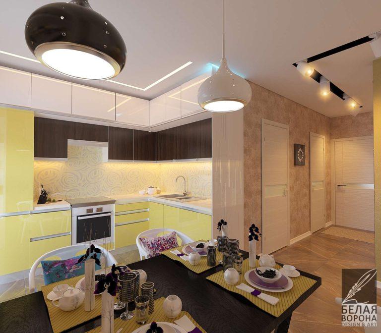 дизайн проект столовой совмещённой кухней в современном интерьере