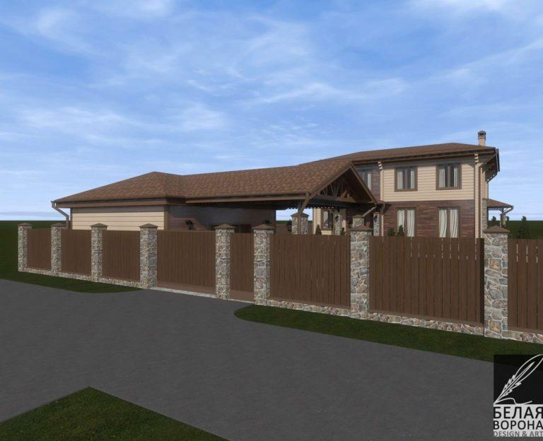 дизайн дизайн-проект экстерьера дома из клееного бруса