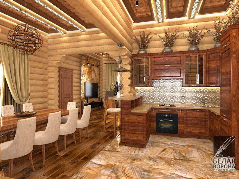 дизайн-проект интерьера столовой совмещённой с кухней в современном стиле в доме
