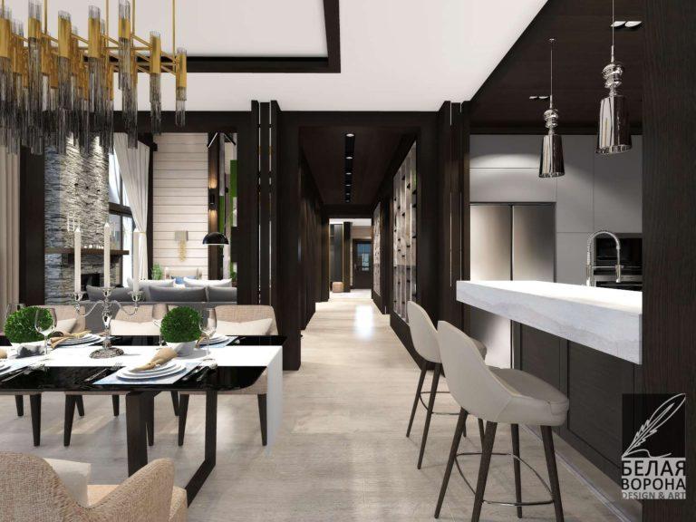 """дизайн проект столовой совмещённой с кухней в современном стиле. дизайн студии """"Белая ворона"""""""