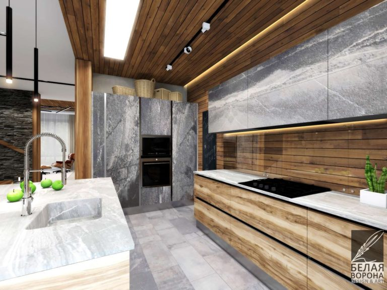 дизайн интерьера кухни в с применением элементов экостиля в отделке