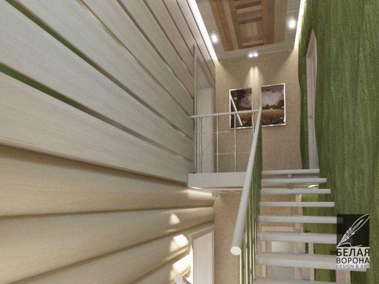 Интерьер лестницы в светлых тонах с применением зелёных оттенков и элементов экостиля для отделки