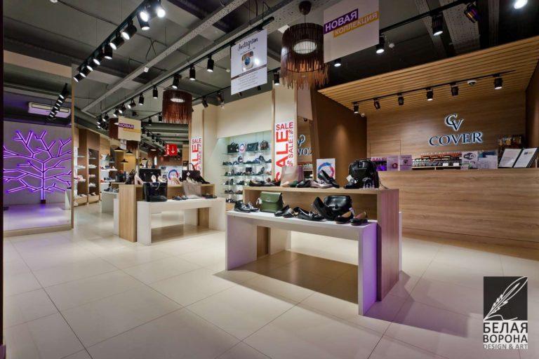 Стойка для товара магазина обуви по современному дизайн-проекту