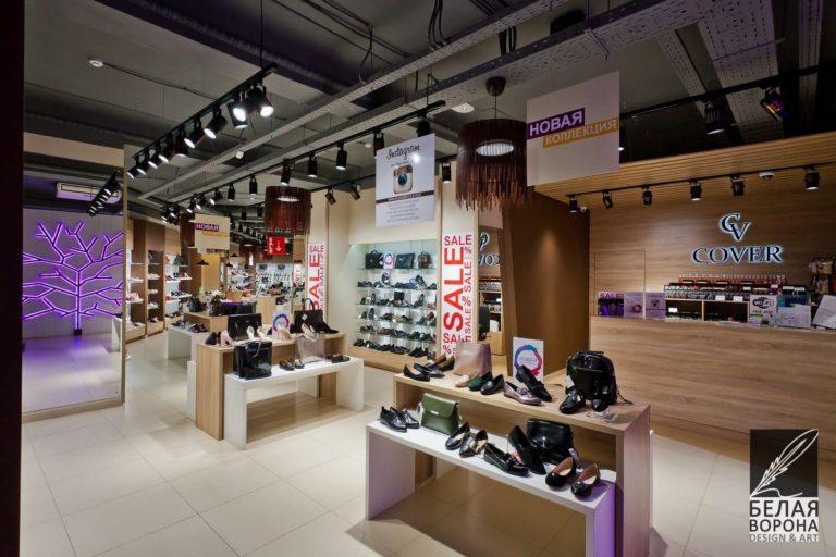 Зал обувного магазина по современному дизайн-проекту