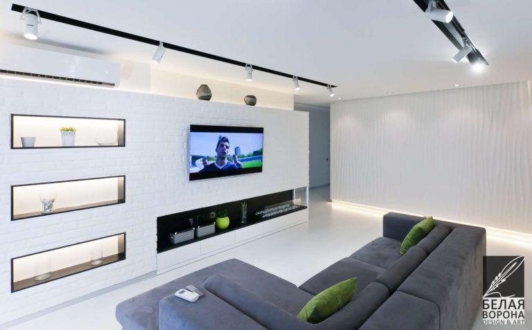 дизайн интерьер просторной квартиры в стиле хай-тек в применением резкого контраста