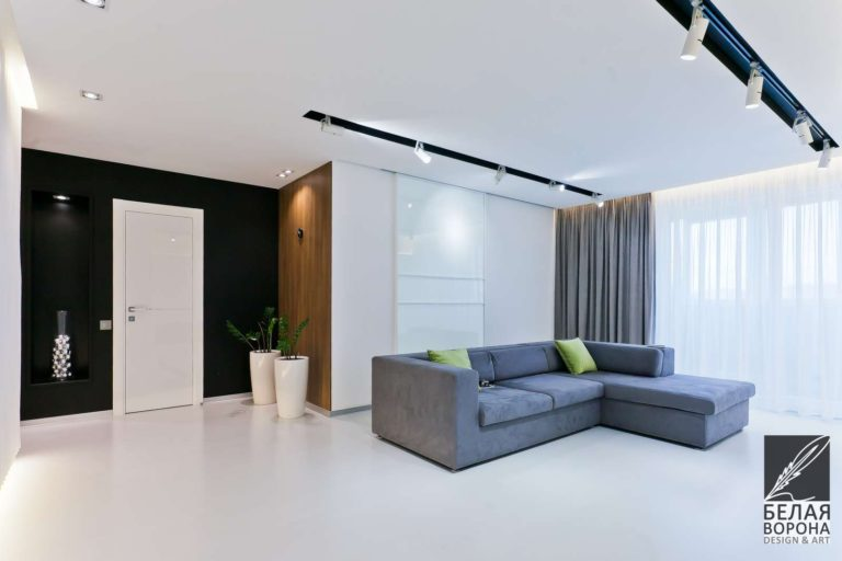 дизайн проект квартиры в стиле хай-тек в с применением резкого контраста