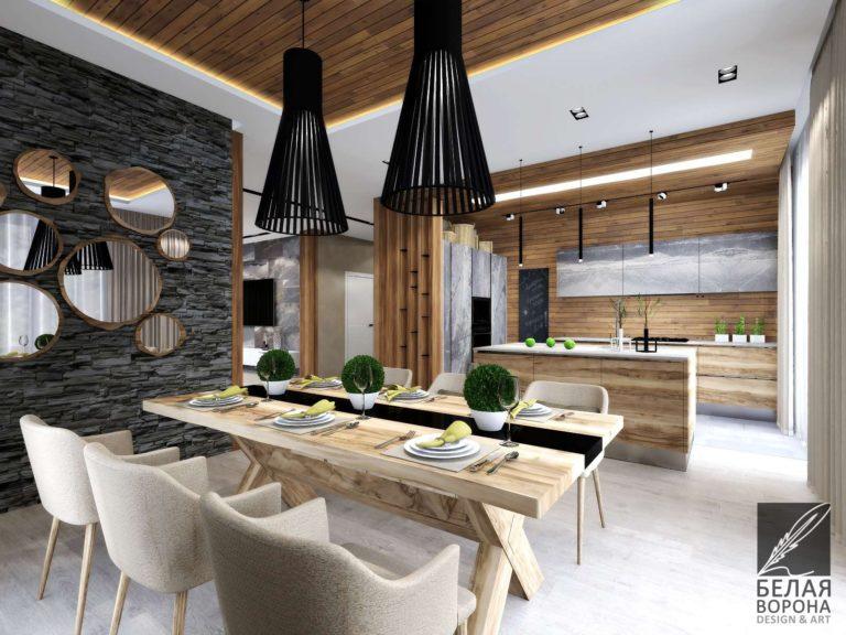 Столовая в светлых тонах с декоративными элементами совмещённая с кухней
