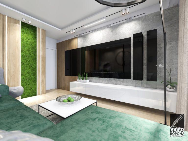 дизайн проект гостиной в с применением цветовых акцентов