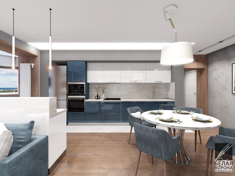 дизайн интерьера столовой совмещённой с кухней в с применением цветовых акцентов
