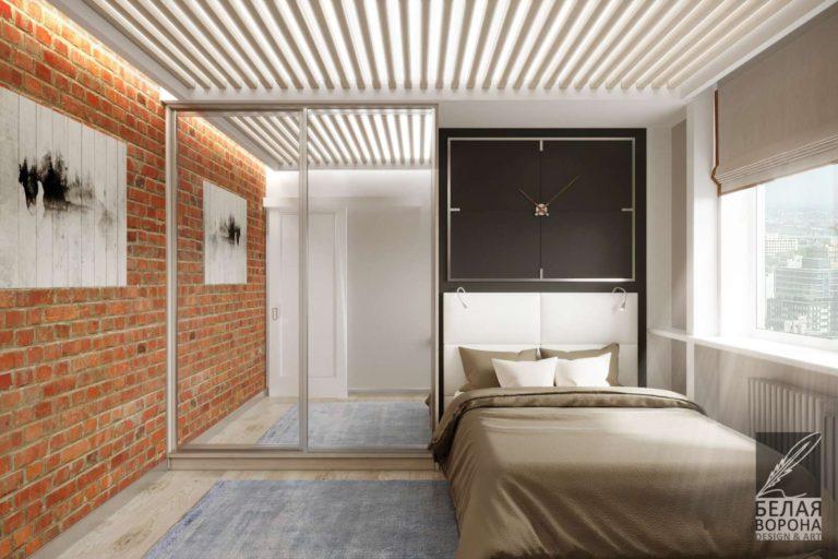 дизайн интерьера комнаты в с применением цветовых акцентов Спальня с элементами стиля лофт