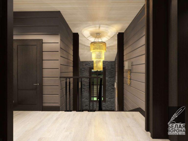 дизайн интерьера холла в современном стиле. В монохромной гамме с тёмными контрастными ставками
