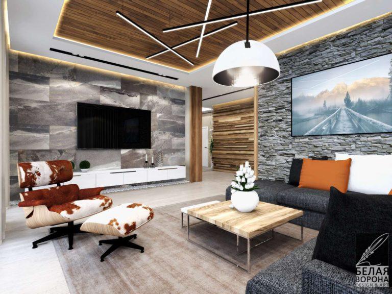 дизайн интерьера гостинной комнаты в с применением цветовых акцентов