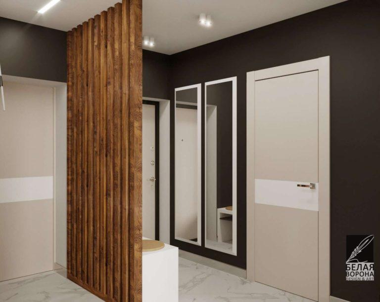 Дизайнерский проект коридора с отделкой состоящей из элементов дерева