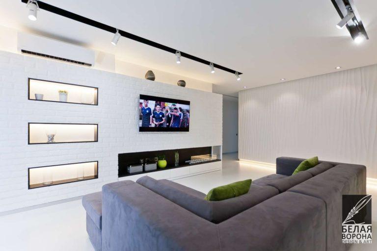 дизайн интерьер просторной гостинной в стиле хай-тек в применением нейтральной гаммы