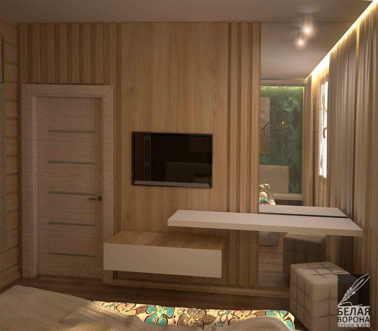 Спальня по дизайнерскому проекту в качестве отделки элементы выполненные из дерева