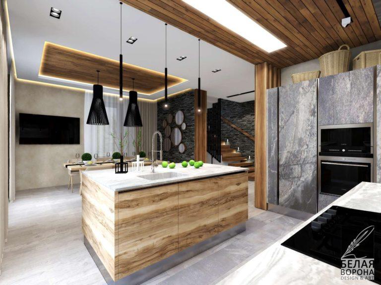 Сочетание деревянных и каменных фактур в современном дизайнерском интерьере