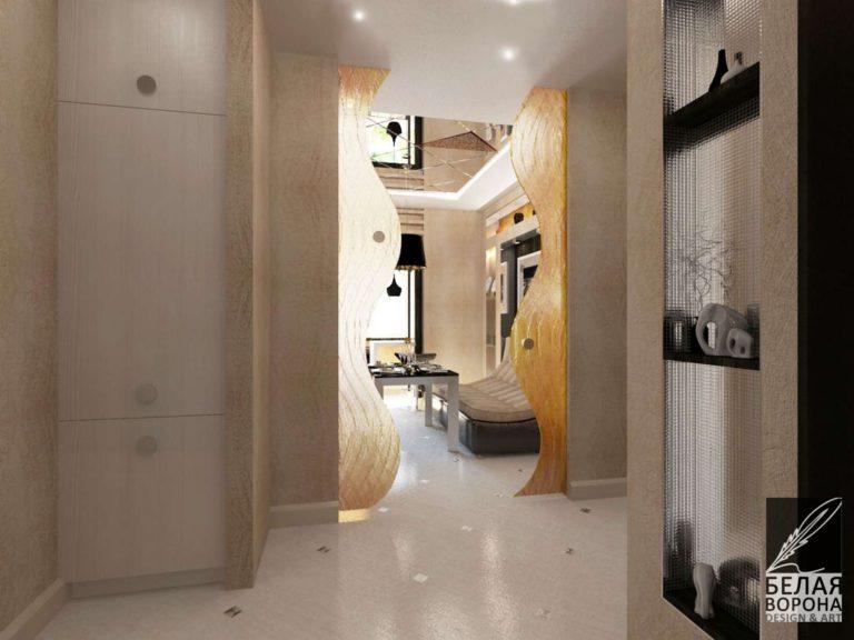 Коридор в светлых тонах в современном дизайне интерьера
