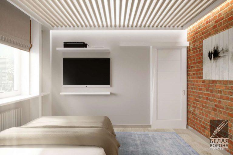 Спальня с деталями стиля лофт в светлых тонах