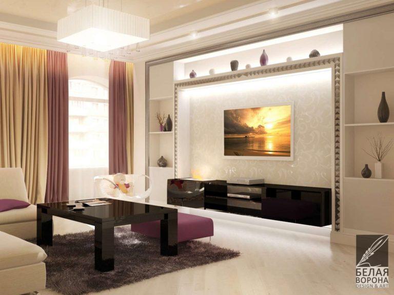 Дизайн монохромной гостинной с яркими элементами