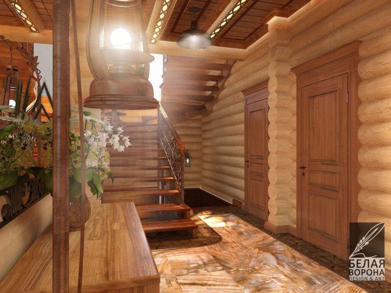 Дизайнерский проект лестницы в деревянном доме